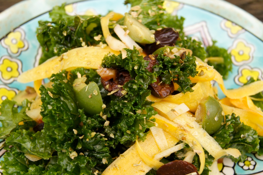 Kale salad with preserved lemon vinaigrette