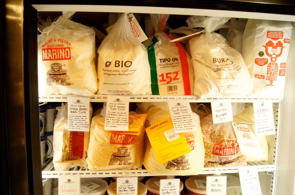 Amazing flour selection at Formaggio Kitchen, from the ancient einkorn, to the super-fine double zero Italian flour, great for homemade pasta