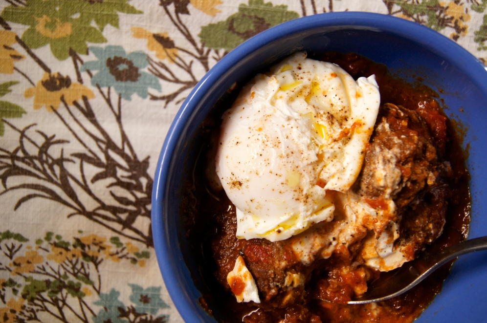 Grass-fed lamb meatballs with greek yogurt & a poached egg