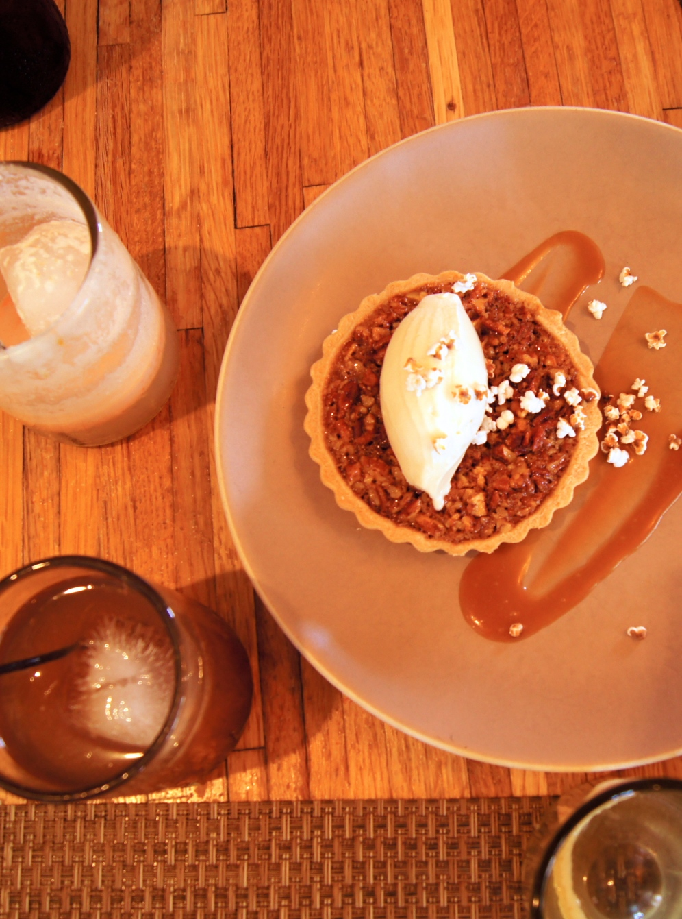 Pecan tart with bourbon ice cream at Husk