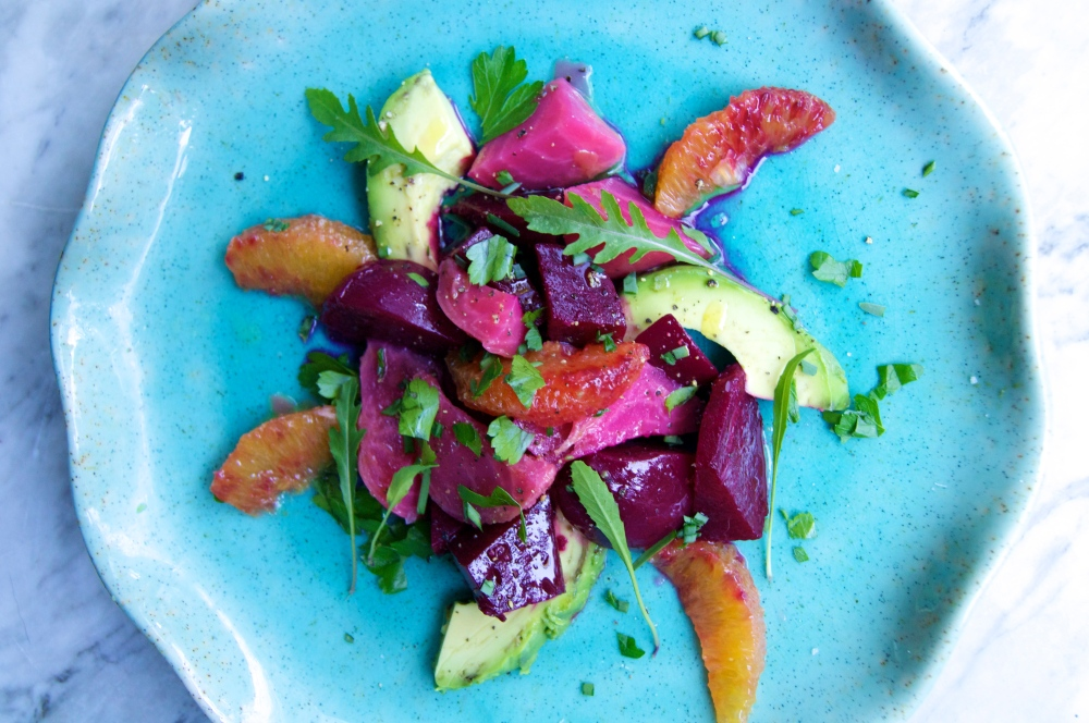 avocado, blood orange, and beet salad