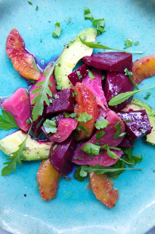avocado, blood orange, and beet salad
