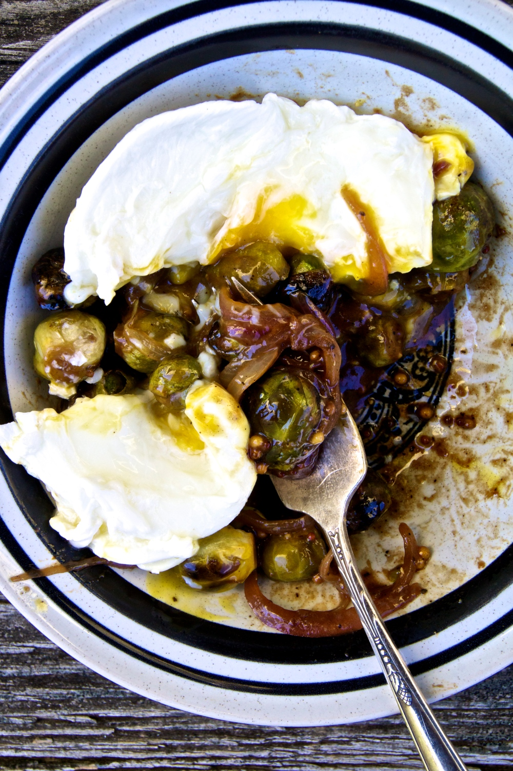 maple-mustard brussel sprouts with an egg