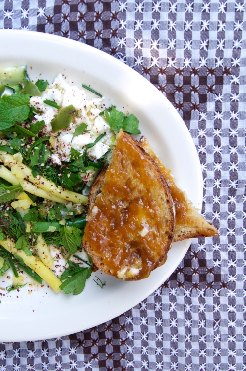 yogurt & goat's feta with green beans, cucumber, herbs & za'atar