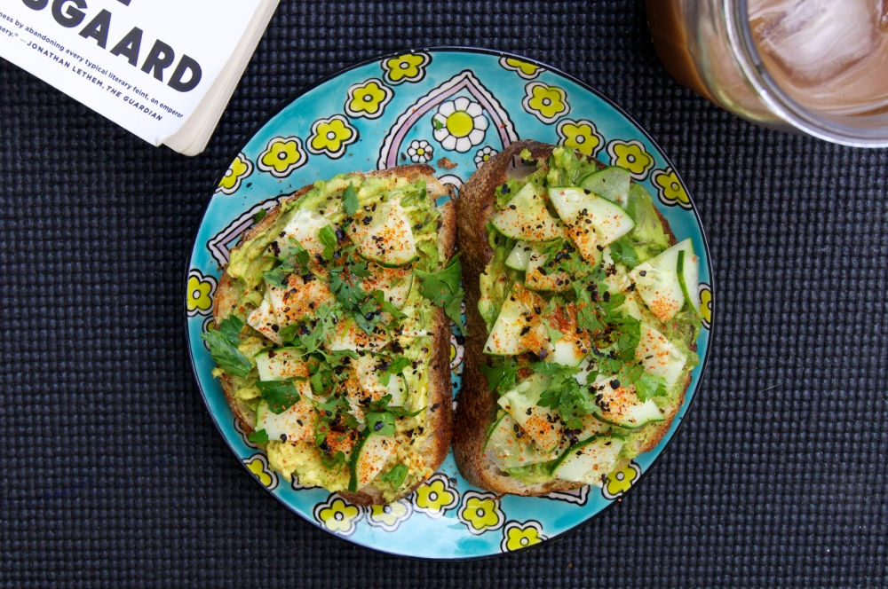 avocado toast with cucumber & togarashi