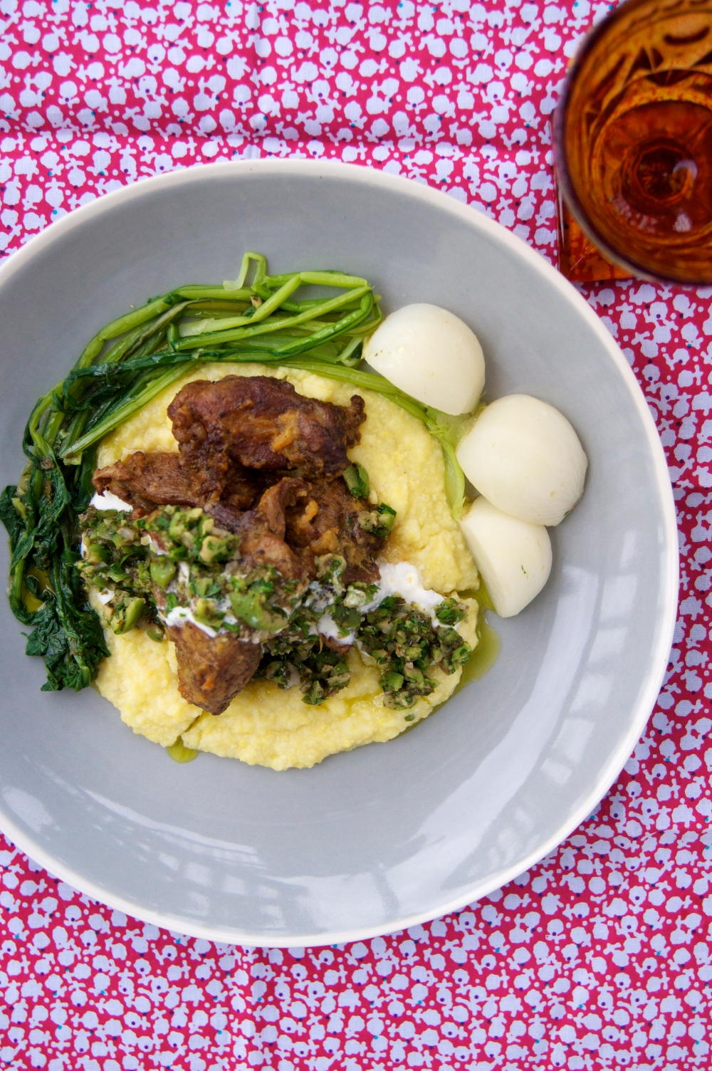 Braised Pork with Polenta, Turnips, and Green Olive Relish