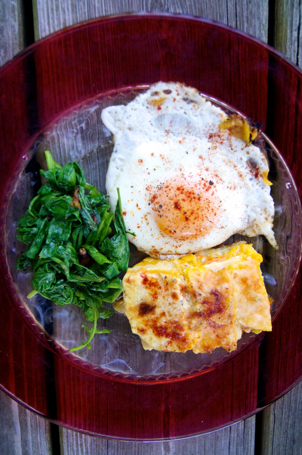 butternut squash and celery root gratin with rocket and a fried egg