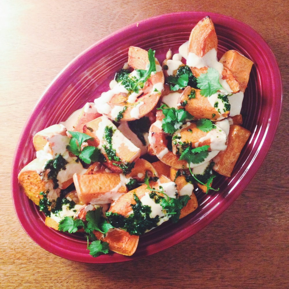 roasted butternut squash with sriracha yogurt and cilantro