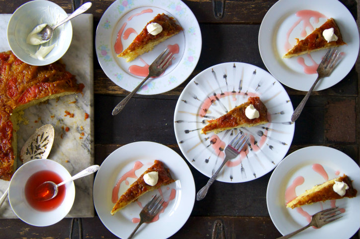 grapefruit-kumquat upside down cake with campari syrup