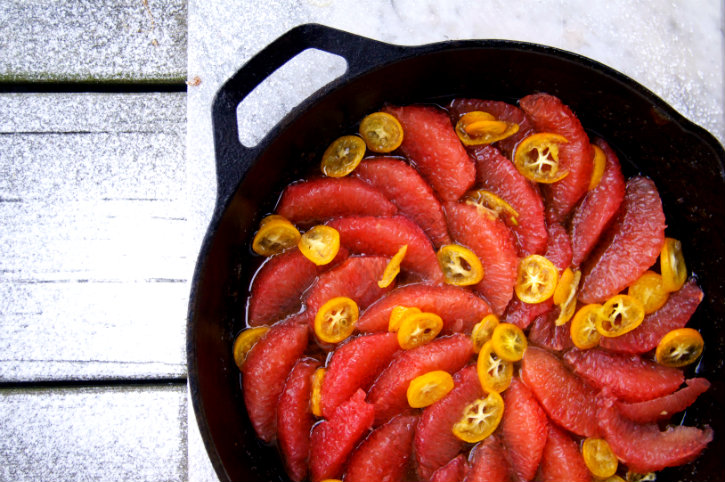 caramelizing grapefruit and kumquats